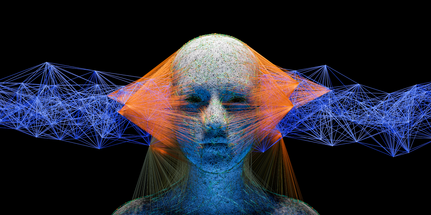 Human face connected to Big Data